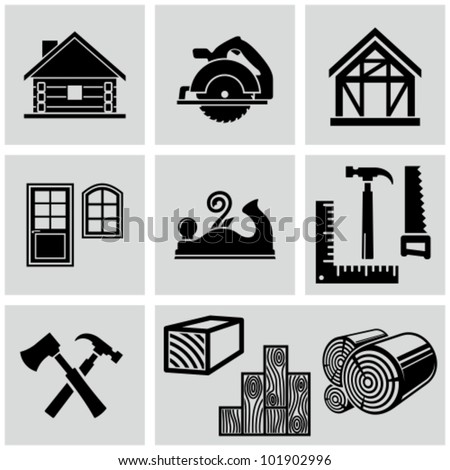 Woodworking and timber house construction related icons set. - stock vector