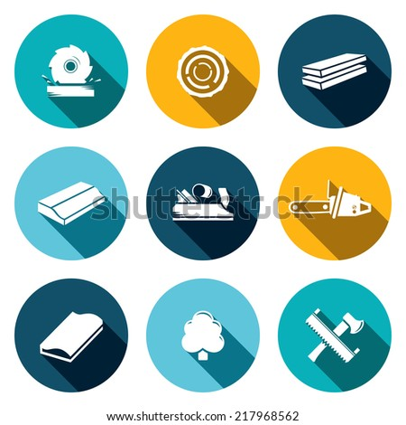 Woodworking flat Icons set - stock vector