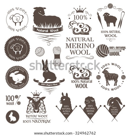 Wool design elements. Labels set of sheep, alpaca, rabbit and goat wool. Logos and emblems for 100% natural wool products. - stock vector