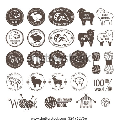 Wool labels. Set of sheep, rabbit and goat and merino stickers. Signs and emblems for 100% natural products.