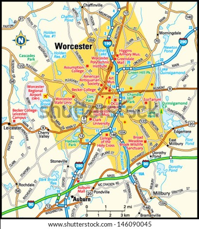 Worcester Massachusetts Area Map Stock Vector HD Royalty Free