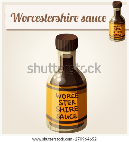 Worcestershire sauce. Detailed Vector Icon. Series of food and drink and ingredients for cooking. - stock vector
