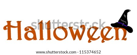 Word a Halloween with a hat - stock vector
