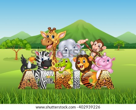 Word Africa with cartoon wild animal - stock vector