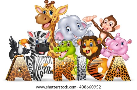 Word Africa with cute wild animal - stock vector