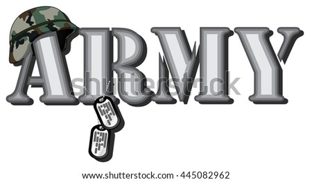 word army. abstract vector image of word with combat helmet and soldier medallions