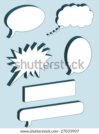 Word Balloons - vector illustrations - blue background is on a separate layer so it can easily be deleted. - stock vector