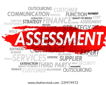 Word Cloud Assessment related tags, vector concept background - stock vector