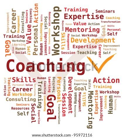 Word Cloud - Coaching - stock vector