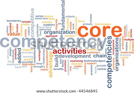 Word cloud concept illustration of core comptency - stock vector