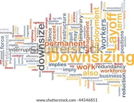 Word cloud concept illustration of downsizing restructuring