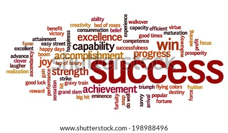 Word cloud containing words related to success, accomplishment, winning, achievement, strength, creativity, capacity, triumph, victory and fortune.  - stock vector