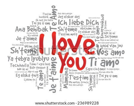 Word Cloud I Love You In Different Languages Valentine Vector Il Ration