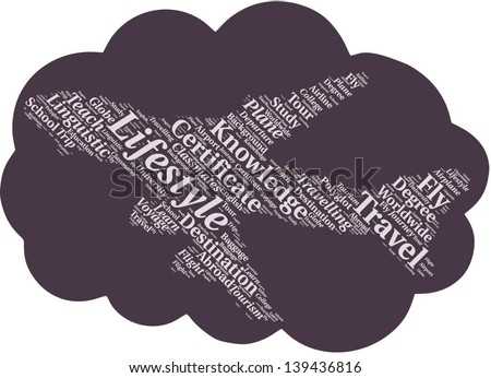Word cloud in plane shape with terms study abroad terms - stock vector