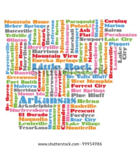 word cloud map of Arkansas state - stock vector