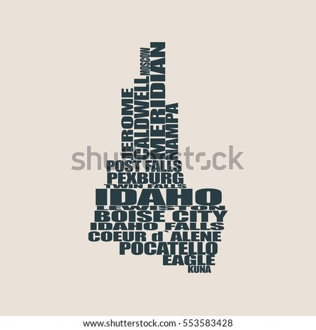 Word Cloud Map Idaho State Cities Stock Vector - Idaho state map with cities