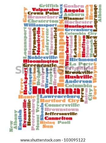 Word Cloud Map Indiana State Usa Stock Vector Shutterstock - Indiana state usa map