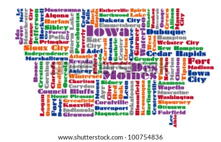 word cloud map of Iowa state