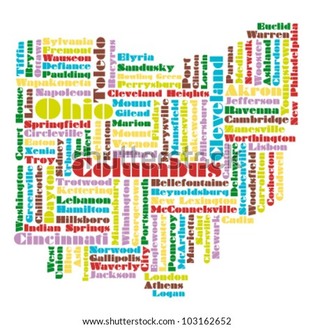 word cloud map of Ohio state