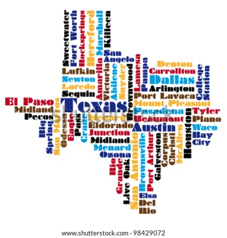 word cloud map of texas state - stock vector