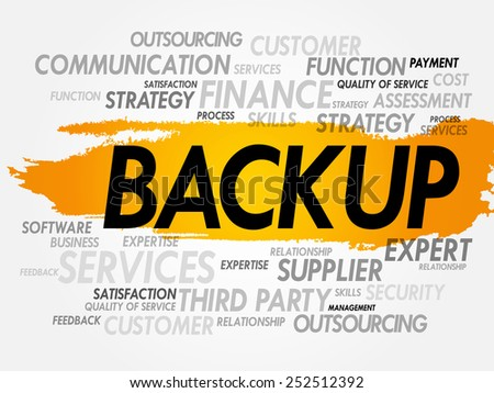 Word cloud of BACKUP related items, presentation background - stock vector