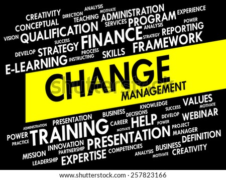 Word cloud of Change Management related items, business concept - stock vector