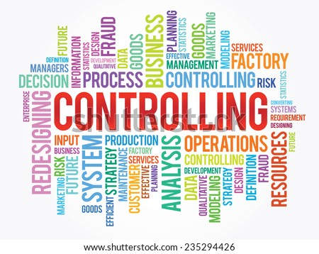 Word cloud of Controlling related items, vector presentation background