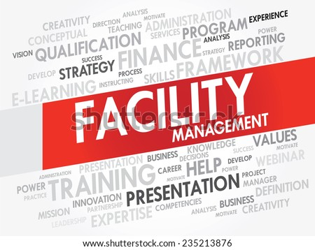 Word cloud of FACILITY Management related items, vector presentation background - stock vector