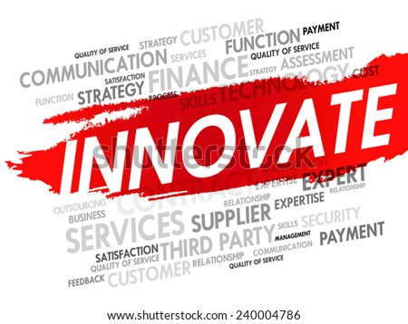 Word cloud of INNOVATE related items, presentation background - stock vector