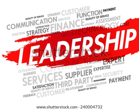Word cloud of LEADERSHIP related items, presentation background - stock vector