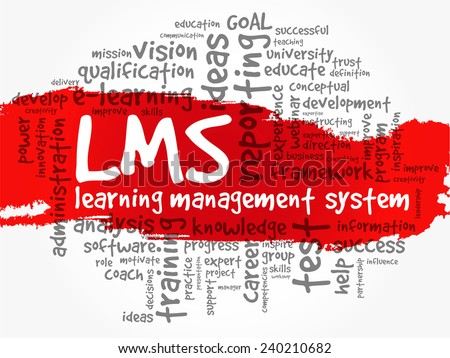 Word cloud of Learning Management System (LMS) related tags, vector background - stock vector