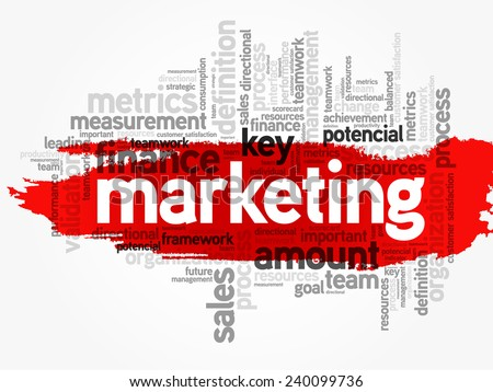 Word cloud of Marketing related items, vector background - stock vector