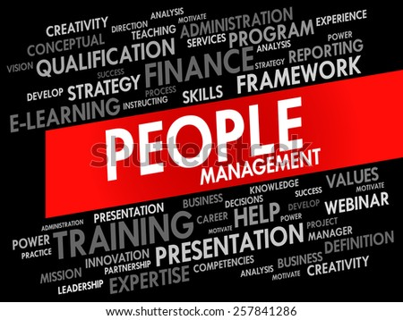 Word cloud of People Management related items, business concept - stock vector