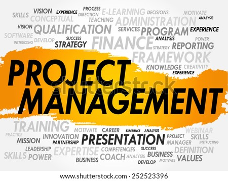 Word cloud of Project Management related items, business concept - stock vector