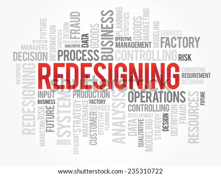 Word cloud of REDESIGNING related items, vector presentation background