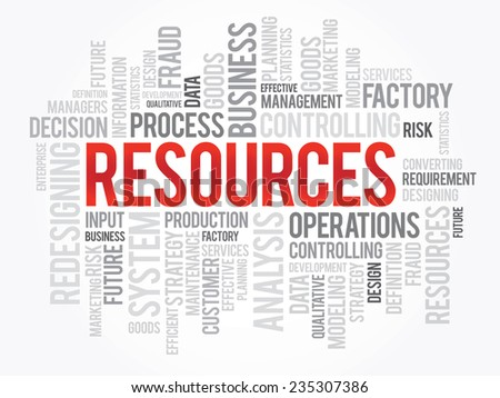 Word cloud of RESOURCES related items, vector presentation background - stock vector