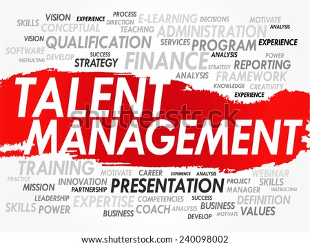 Word cloud of Talent Management related items, vector background - stock vector