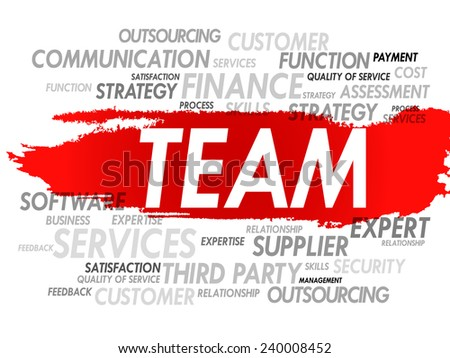 Word cloud of TEAM related items, presentation background - stock vector