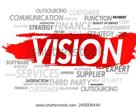 Word cloud of VISION related items, presentation background - stock vector
