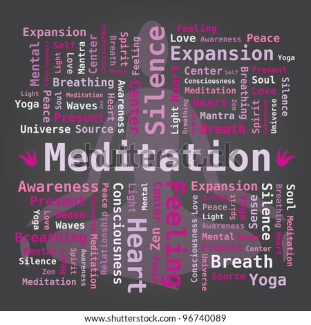Word Cloud on Meditation with Yoga Silhouette - stock vector