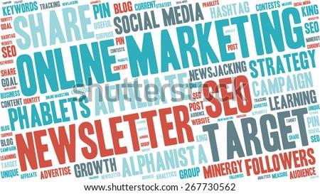 Word Cloud - Online Marketing - stock vector
