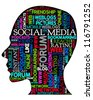 Word cloud, tag cloud text business concept. Head silhouette with the words on the topic of social networking. Word collage. Vector illustration. - stock photo