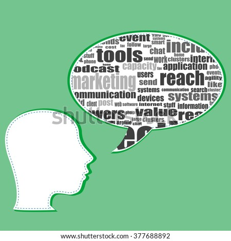 Word cloud, tag cloud text business concept. Head silhouette with the words on the topic of social networking. Word collage. Vector illustration. - stock vector