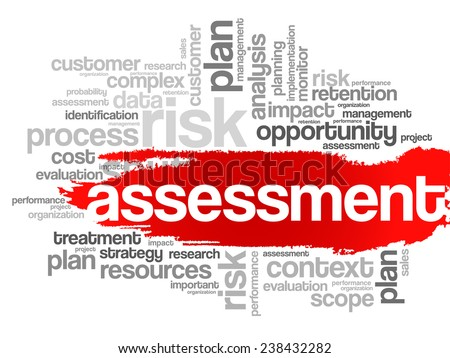 Word Cloud with Assessment related tags, vector business concept - stock vector