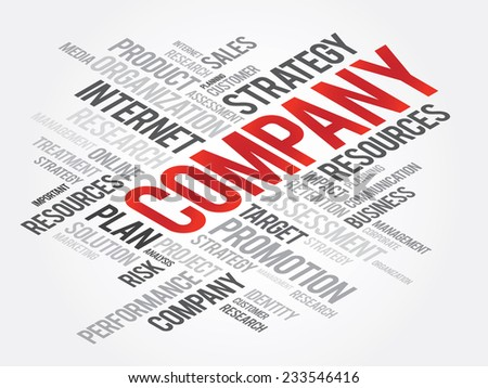 Word Cloud with COMPANY related tags, vector business concept - stock vector