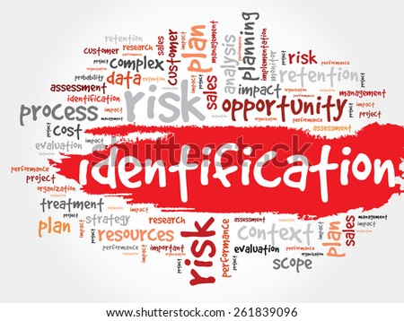Word Cloud with Identification related tags business concept - stock vector