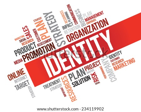 Word Cloud with Identity related tags, vector business concept - stock vector