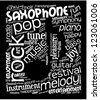 Word cloud with music words with note shape inside. White text on black background. - stock photo