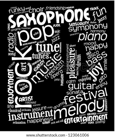 Word cloud with music words with note shape inside. White text on black background. - stock vector