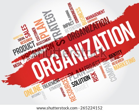 Word Cloud with Organization related tags, business concept - stock vector